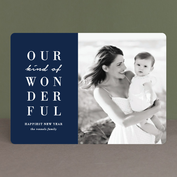 """""""Our Wonderful"""" - Christmas Photo Cards in Midnight by Kaydi Bishop."""