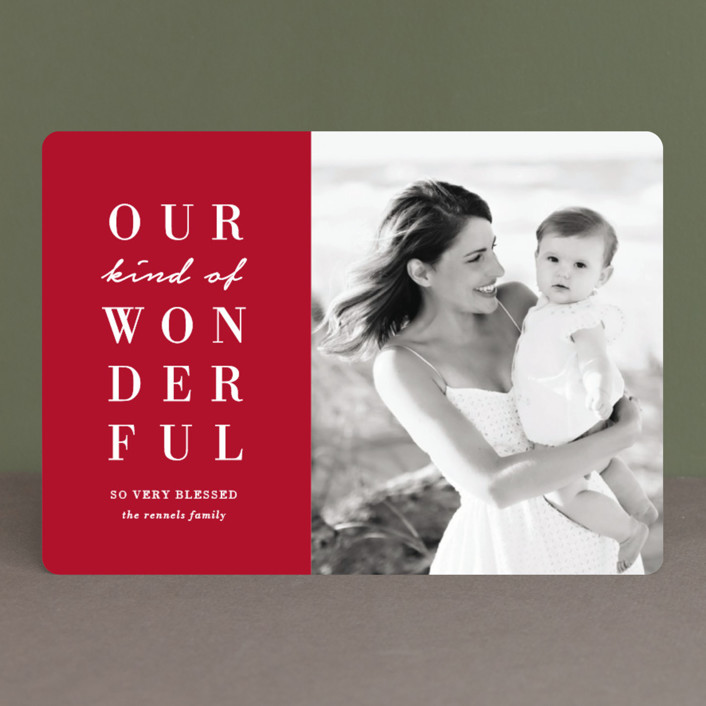 """""""Our Wonderful"""" - Christmas Photo Cards in Candy Cane by Kaydi Bishop."""