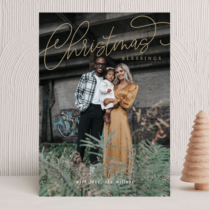 """""""Christmas Script"""" - Christmas Photo Cards in Gilded by Itsy Belle Studio."""