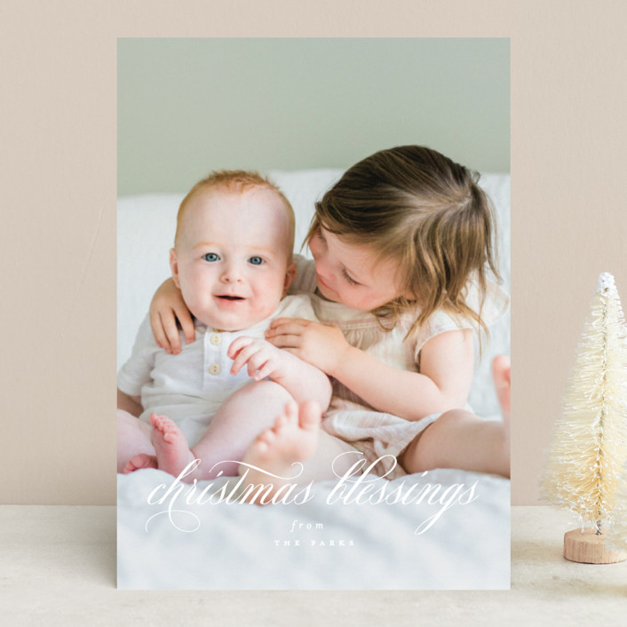 """Elegant Christmas Blessings"" - Christmas Photo Cards in Snow by Kimberly FitzSimons."