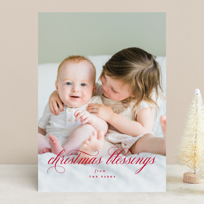 """Elegant Christmas Blessings"" - Christmas Photo Cards in Ruby by Kimberly FitzSimons."