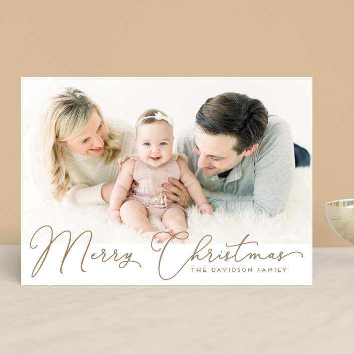 """""""Scripted holiday message"""" - Christmas Photo Cards in Snowfall by Alexandra Dzh."""