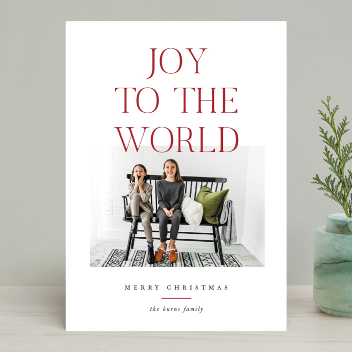 """""""All The Joy"""" - Christmas Photo Cards in Cranberry by Pixel and Hank."""