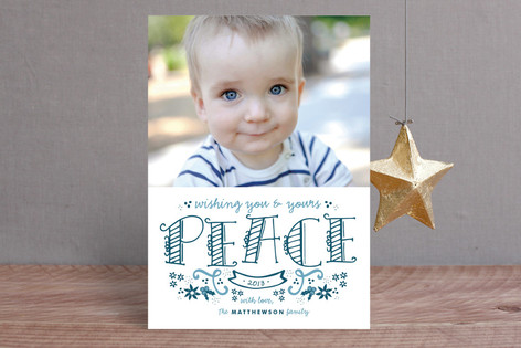 Hand-Drawn Peace Christmas Photo Cards