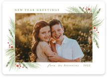 This is a green photo christmas card by Karidy Walker called evergreen branches with standard printing on smooth signature in standard.