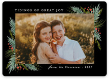 This is a black photo christmas card by Karidy Walker called evergreen branches with standard printing on smooth signature in standard.