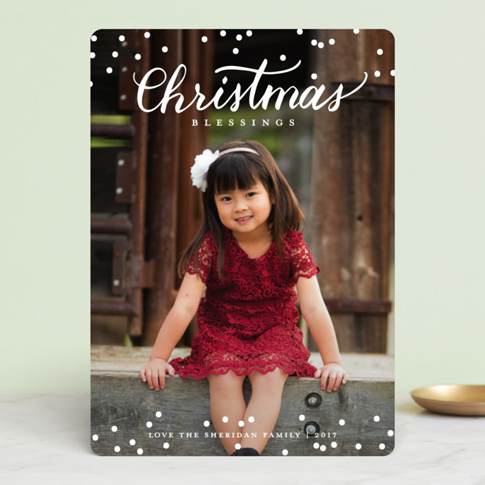 """""""Festive blessings"""" - Christmas Photo Cards in Snowfall by Stacey Meacham."""