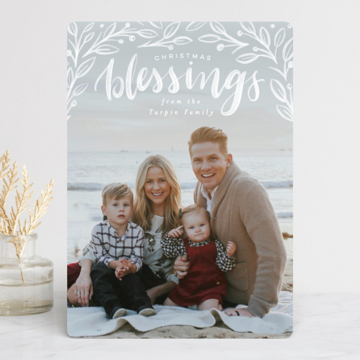 """""""Botanic Blessings"""" - Christmas Photo Cards in Snow by Pink House Press."""