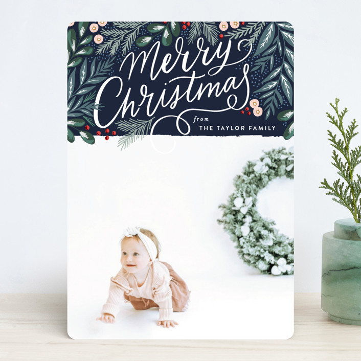 """Scripted Pine Branch Berries"" - Christmas Photo Cards in Leaf by Alethea and Ruth."
