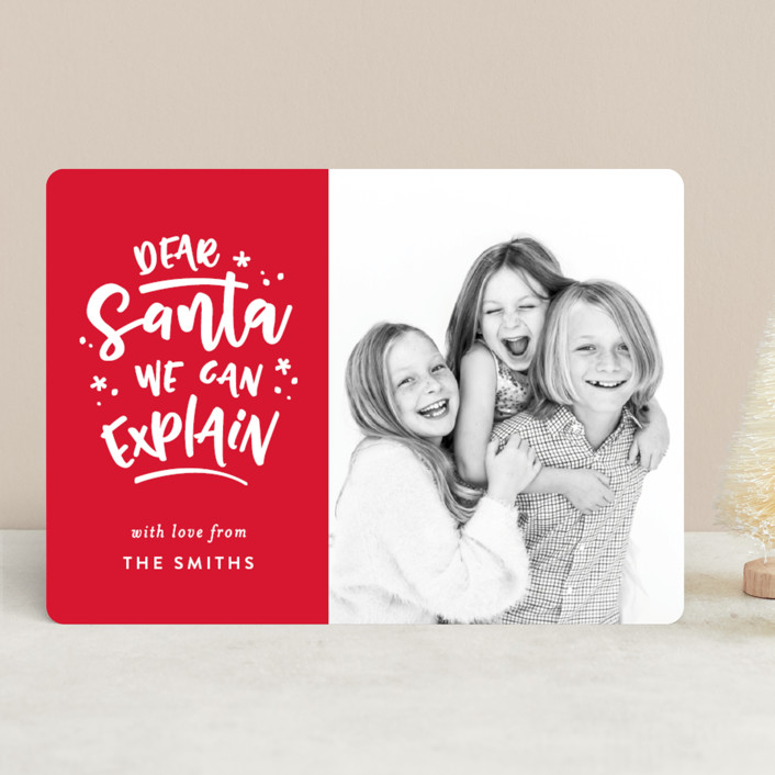 """Dear Santa"" - Funny Christmas Photo Cards in Cardinal by Michelle Poe."