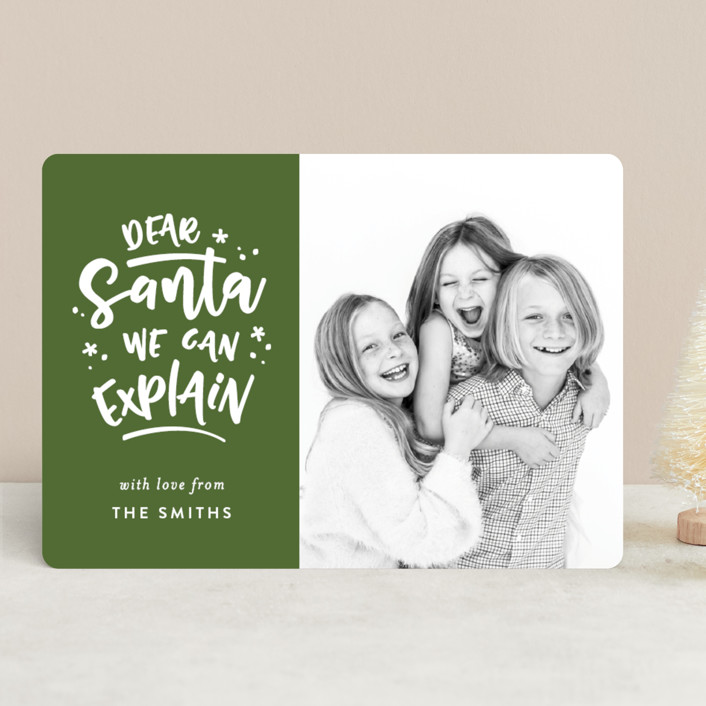 """""""Dear Santa"""" - Funny Christmas Photo Cards in Pine by Michelle Poe."""