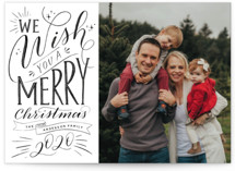 This is a black photo christmas card by Nicole Barreto called Hand-lettered Wish with standard printing on smooth signature in standard.