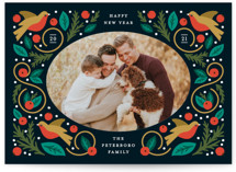This is a green photo christmas card by Genna Cowsert called Folk Frame with standard printing on smooth signature in standard.