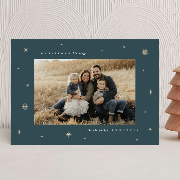 """""""Midnight Clear"""" - Vintage Christmas Photo Cards in Midnight by Lauren Chism."""
