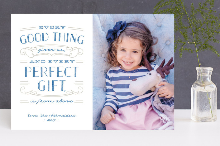 """""""Perfect Gift"""" - Christmas Photo Cards in Capri Blue by Ann Gardner."""