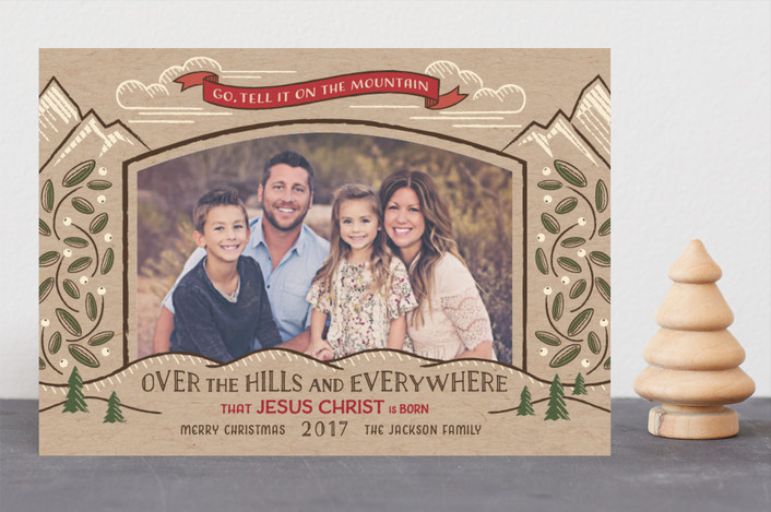"""Go, Tell it on the Mountain"" - Christmas Photo Cards in Kraft by Paper Sun Studio."
