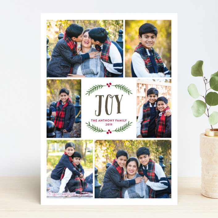 """Festive Berry Joy"" - Christmas Photo Cards in Pomegranate by Katherine Moynagh."