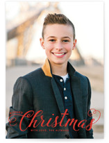This is a red photo christmas card by Ellis called Blessed Christmas with standard printing on smooth signature in standard.