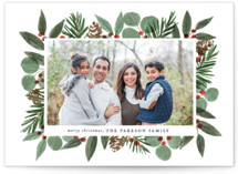 This is a white photo christmas card by Brooke Chandler called Festive Holiday Foliage with standard printing on signature in standard.