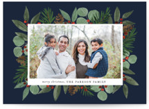This is a blue photo christmas card by Brooke Chandler called Festive Holiday Foliage with standard printing on smooth signature in standard.