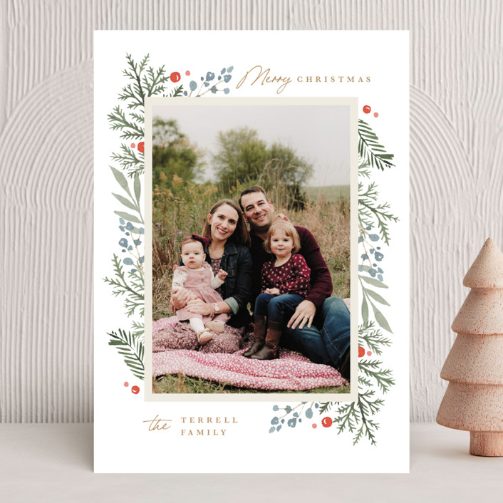 """Evergreen Trim"" - Christmas Photo Cards in Evergreen by Kristen Smith."