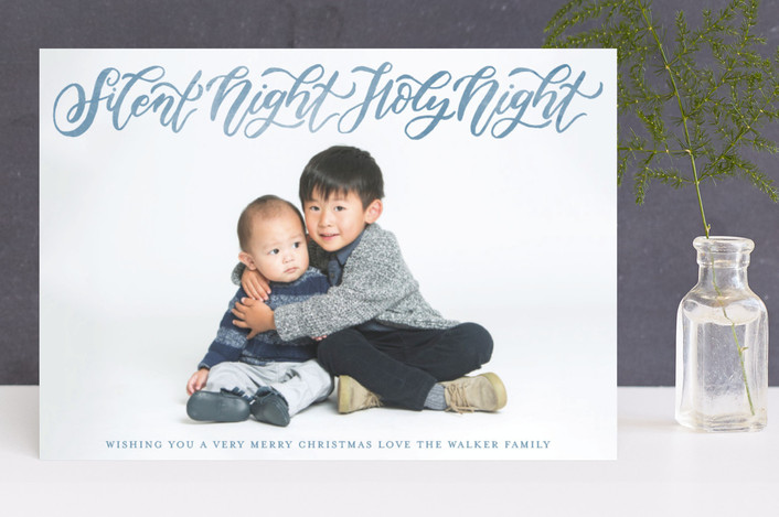 """Silent and Holy Night Overlay"" - Christmas Photo Cards in Frost by Grace Kreinbrink."
