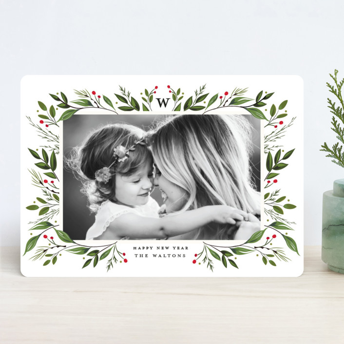 """Holiday Framed"" - Christmas Photo Cards in Raspberry by Susan Moyal."