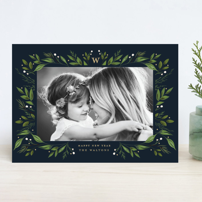 """""""Holiday Framed"""" - Christmas Photo Cards in Navy by Susan Moyal."""