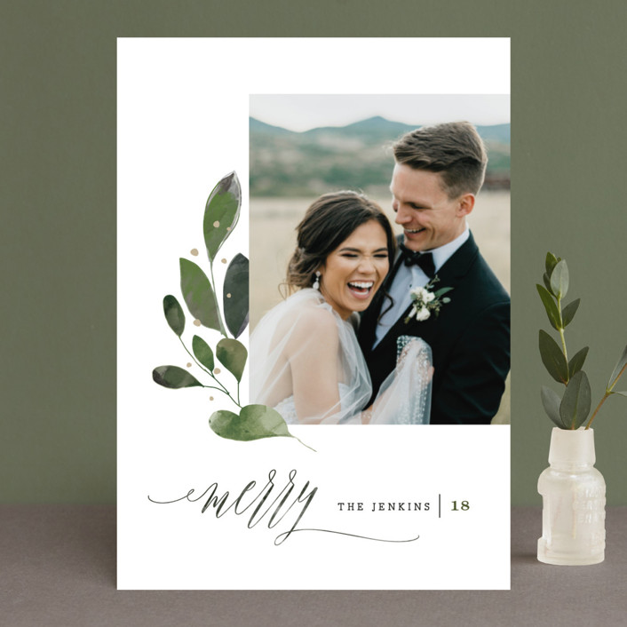 """""""Botanical Spray"""" - Christmas Photo Cards in Merlot by Lori Wemple."""