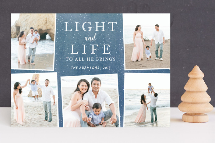 """Light and Life to all He brings"" - Christmas Photo Cards in Ocean by Kate Sorensen."