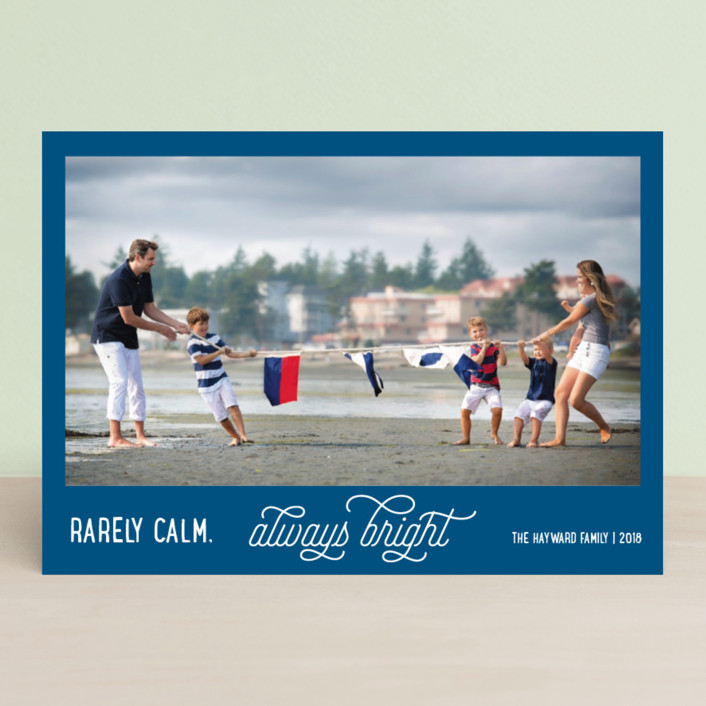 """Rarely Calm Always Bright"" - Funny Christmas Photo Cards in Cobalt by Jula Paper Co.."