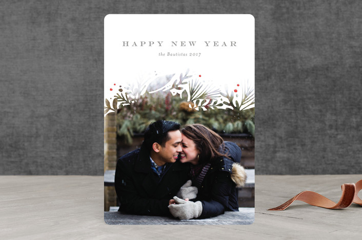 """""""Wintry White Botanicals"""" - Christmas Photo Cards in Winter by Jennifer Wick."""