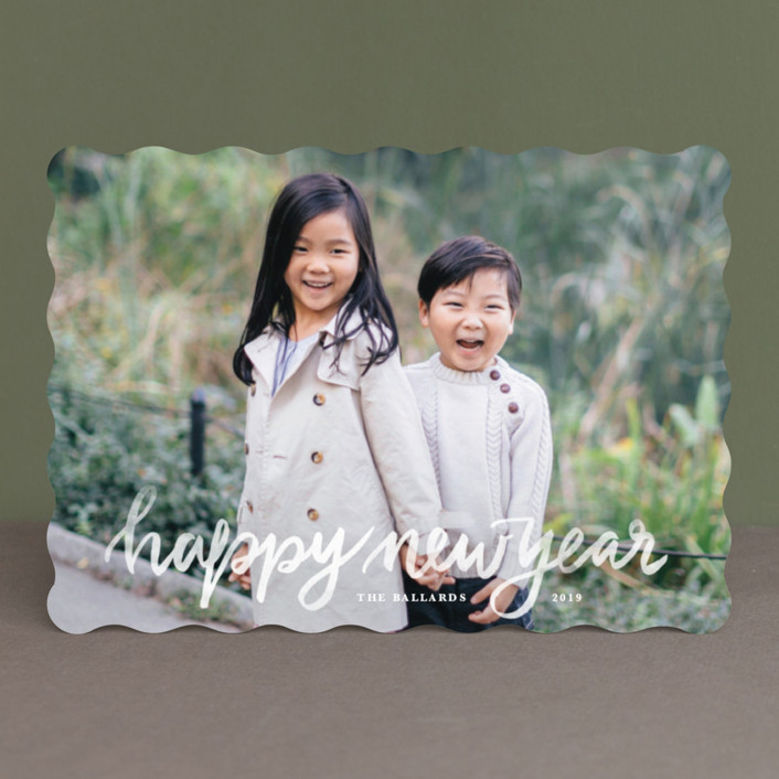 """Hand Lettered Merry"" - Christmas Photo Cards in Marshmallow by Kristen Smith."