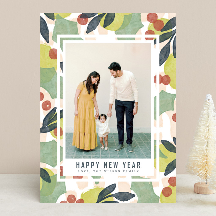 """""""Holiday Shapes"""" - Modern Christmas Photo Cards in Deck the halls by Heather Cairl."""