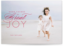 This is a red photo christmas card by Guess What Design Studio called luke 2:10 with standard printing on smooth signature in standard.