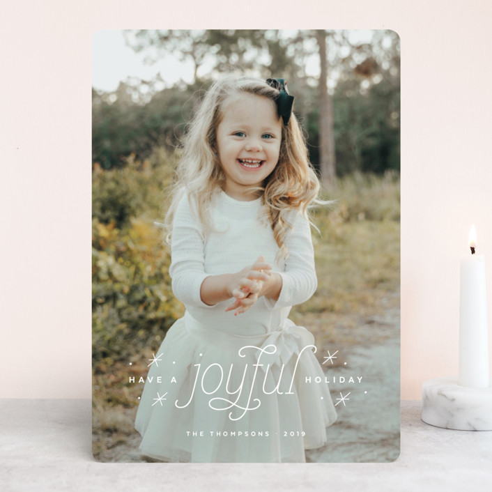 """""""Joyful Holiday"""" - Bohemian Christmas Photo Cards in Sugar by Ink and Letter."""