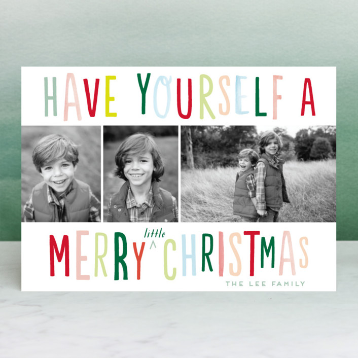 """""""Little Fun Christmas"""" - Funny Christmas Photo Cards in Christmas Lights by Baumbirdy."""