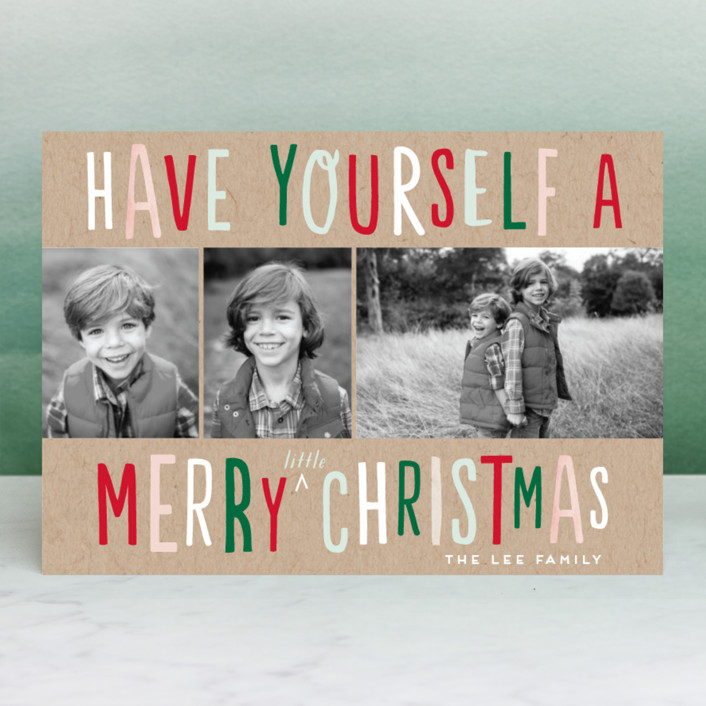 """""""Little Fun Christmas"""" - Funny Christmas Photo Cards in Kraft by Baumbirdy."""