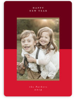 This is a red photo christmas card by Lehan Veenker called Holiday Blocks with standard printing on smooth signature in standard.