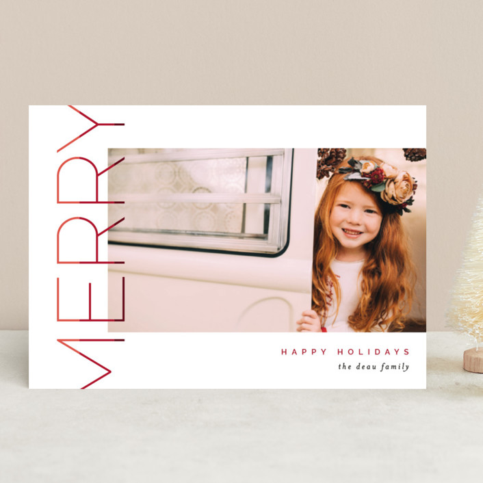 """""""Merry Stacked"""" - Christmas Photo Cards in Cranberry by Pixel and Hank."""