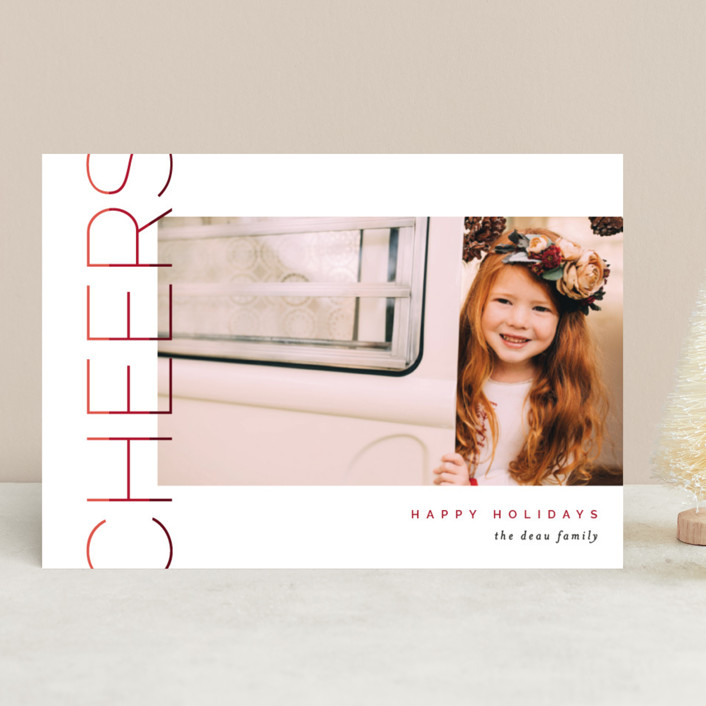 """""""Merry Stacked"""" - Christmas Photo Cards in Chocolate by Pixel and Hank."""