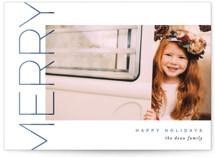 This is a blue photo christmas card by Pixel and Hank called Merry Stacked with standard printing on smooth signature in standard.