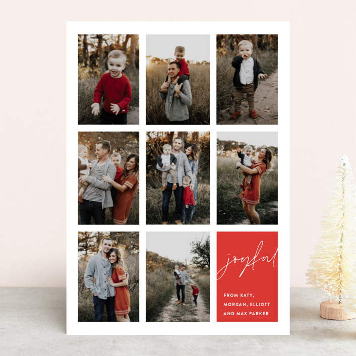 """joyful moments"" - Christmas Photo Cards in Berry by Sara Hicks Malone."
