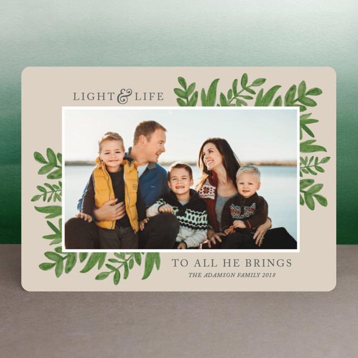 """""""Light & Life"""" - Christmas Photo Cards in Taupe by Kate Sorensen."""