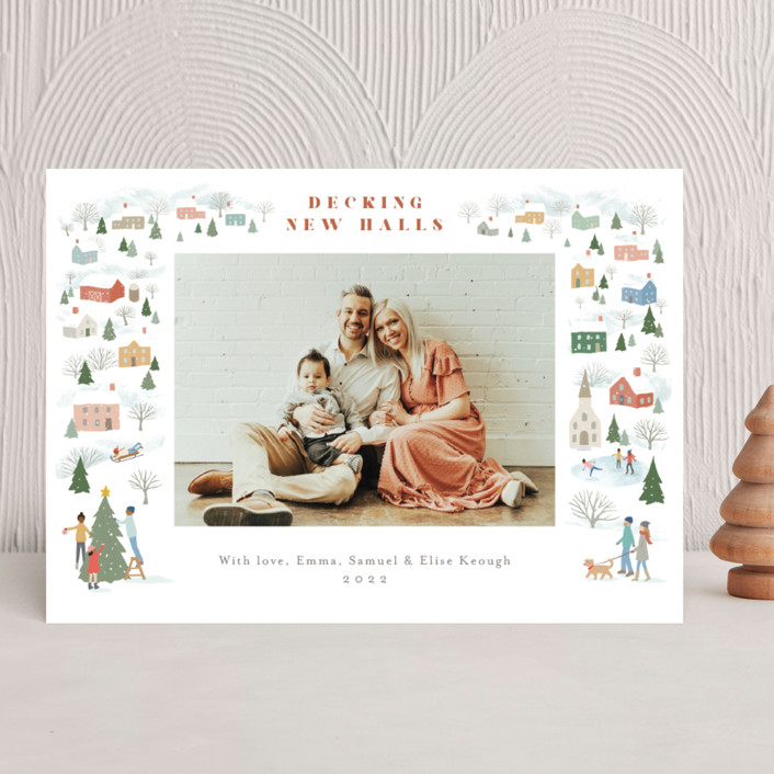 """""""Winter Village"""" - Christmas Photo Cards in Snowflake by Jennifer Wick."""