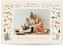 This is a beige photo christmas card by Jennifer Wick called Winter Village with standard printing on signature in standard.