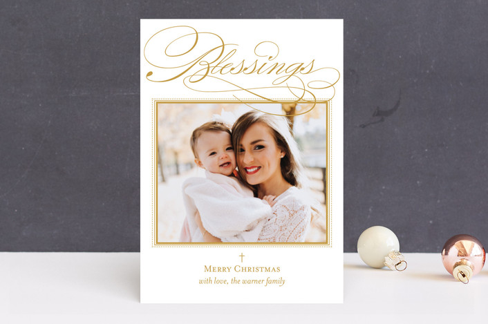 """Scripted Blessings"" - Christmas Photo Cards in Goldenrod by Coco and Ellie Design."