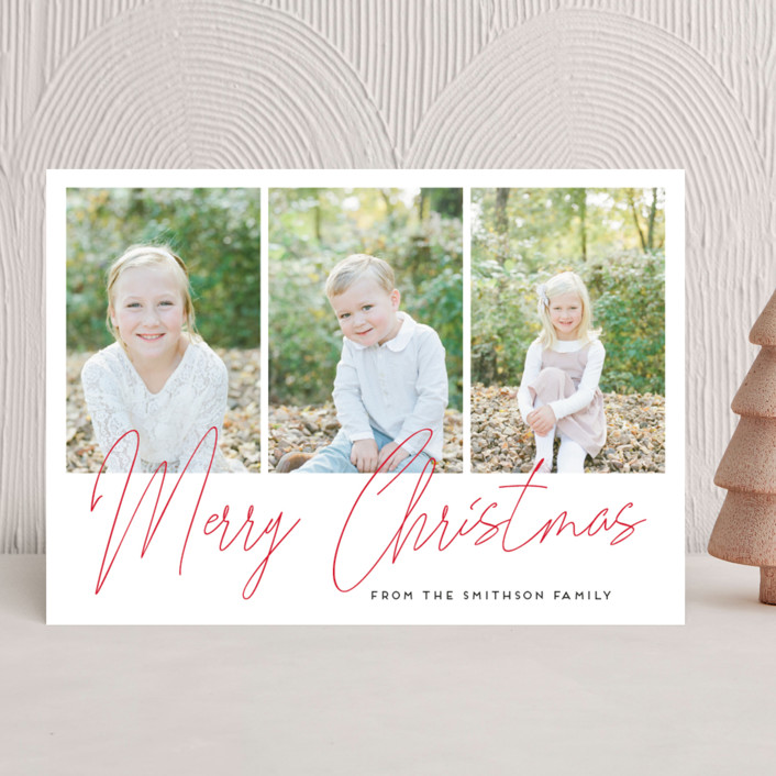 """""""hand-written holiday message"""" - Modern Christmas Photo Cards in Berry by Alexandra Dzh."""