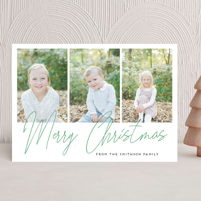 """""""hand-written holiday message"""" - Christmas Photo Cards in Pine by Alexandra Dzh."""