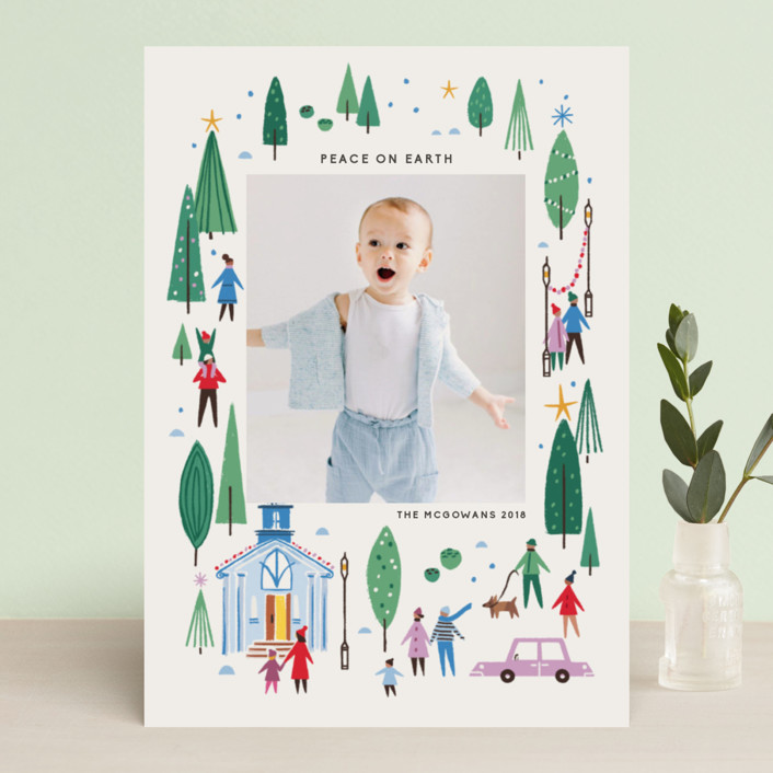 """""""Going to Church"""" - Modern Christmas Photo Cards in Fern by Morgan Ramberg."""